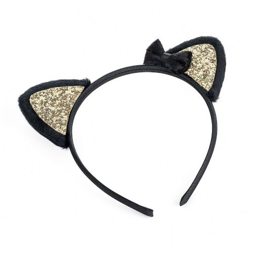 Black Gold Cat Ears and Bow Alice Hair Band